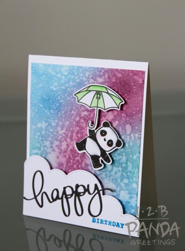 birthday card- panda floating angle wm