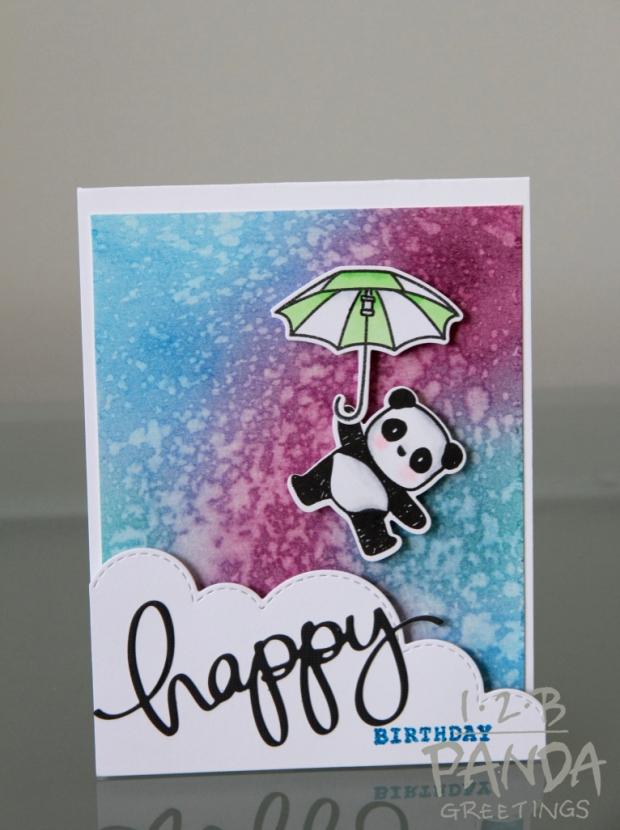birthday card- panda floating wm