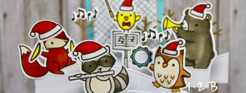 Lawn Fawn Critter Concert Christmas Box Pop Up Card 1 2 B Panda Greetings